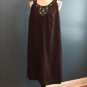 3/$15 Cato | Brown w/Turquoise Beading Dress
